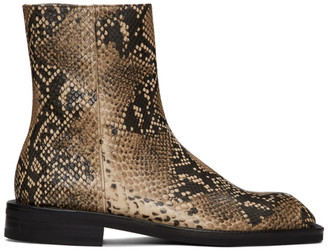 ANDERSSON BELL Brown Snake Square Toe Chelsea Boots