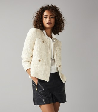 Reiss JUNE SHORT BOUCLE JACKET White