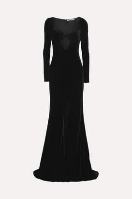 Alessandra Rich Cutout Velvet Gown - Black