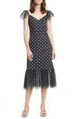 STAUD Marwa Polka Dot Tulle Trim Midi Dress