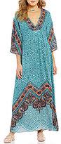 Angie V-Neck Border-Print Maxi Dress