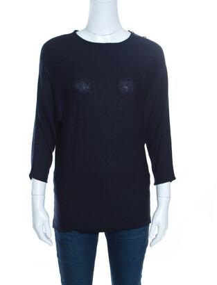 Carolina Herrera Navy Blue Knit Gold Button Detail Dolman Sleeve Top XS
