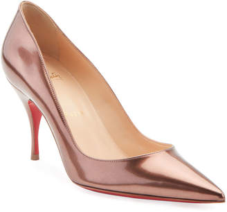 Christian Louboutin Clare Metallic Patent Leather Red Sole Pumps