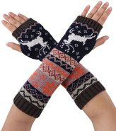 Simplicity Women's Long Knitting Stretchy Fingerless Gloves Dear Snowflake,White
