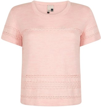 Studio Myr Short Sleeve Merino Jumper With Lace Details, Sweety - Soft Pink.