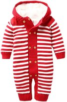 EOZY Baby Toddlers Fleece Knitted Stripes Jumpsuit Hooded Romper