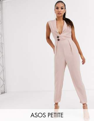 Asos DESIGN Petite sleeveless wrap tux jumpsuit-Pink