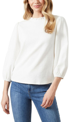 French Connection Textured Frill Neck Top