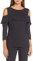 BOSS Women's Ikyana Dot Jacquard Cold Shoulder Top