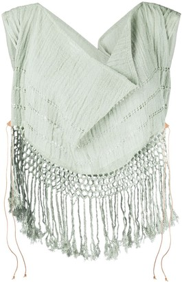 CARAVANA Draped Cowl Neck Fringe Top