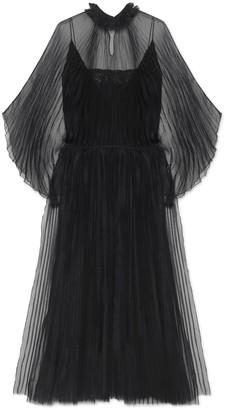 Gucci Silk organdy pleated dress