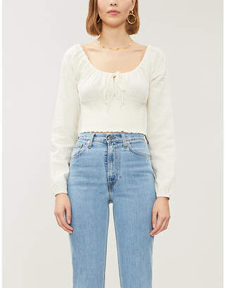 KENDALL + KYLIE PacSun x Kendall & Kylie cropped linen-blend blouse