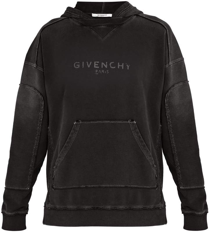 Givenchy Distressed logo-print cotton hooded sweatshirt