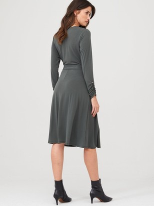 Wallis Wrap Fit & Flare Dress - Khaki