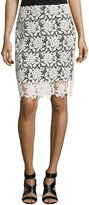 T Tahari Carolina Lace Skirt, Black/White