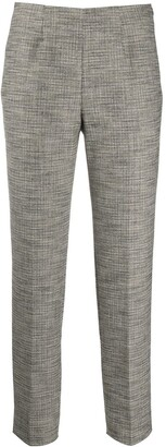 Piazza Sempione Mid-Rise Cropped Houndstooth Trousers