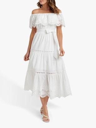 Forever New Phoebe Bardot Shirred Dress, Porcelain