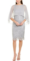 Teri Jon By Rickie Freeman Silk-Trim Sheath Dress