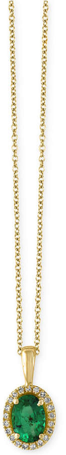Effy Brasilica Emerald (3/4 ct. t.w.) and Diamond Accent Pendant Necklace in 14k Gold, Created for Macy's