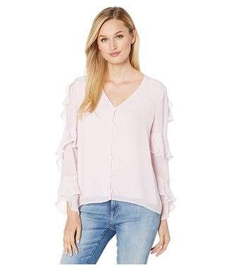 Vince Camuto Tiered Ruffle Long Sleeve Button Front Blouse