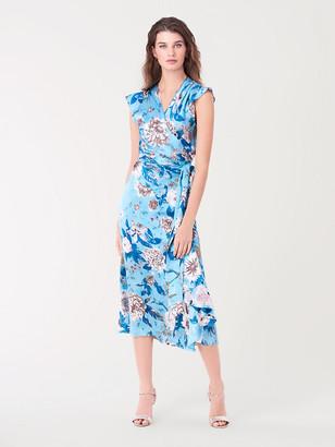 Diane von Furstenberg Gwendolyn Reversible Satin Midi Wrap Dress
