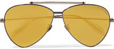 Alexander McQueen Aviator-style Gunmetal-tone Mirrored Sunglasses - Gold