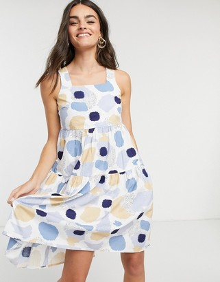 Pieces polka dot dress with tie back