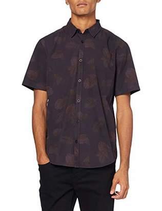 Casual Shirt Company Men's Overdye Aubergine Short Sleeve Regular Fit Casual Shirt