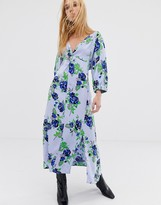 Asos midi dress in blue floral print
