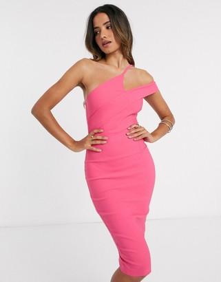 Vesper one shoulder midi dress in bright pink