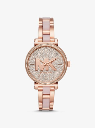 Michael Kors Sofie Pave Rose Gold-Tone and Acetate Watch