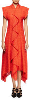 Proenza Schouler Flutter-Sleeve Asymmetric-Hem Dress, Electric Red