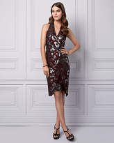 Le Château Floral Print Foil Knit Wrap-Like Dress