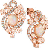 LeVian Le Vian® Crazy Collection® Peach Morganite (3-1/5 ct. t.w.), Opal (2-3/10 ct. t.w.) and White Topaz (9/10 ct. t.w.) Stud Earrings in 14k Rose Gold, Only at Macy's