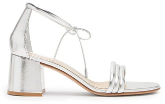Gianvito Rossi Sydney 60 Metallic-leather Block-heel Sandals - Silver