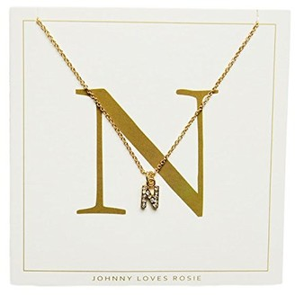 Johnny Loves Rosie Women Gold Plated Glass Chain Necklace of Length 48cm N Initial Gift Card