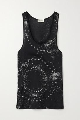 Saint Laurent Glittered Cotton-jersey Tank - Black