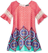 Sequin Hearts Geometric Print Dress, Big Girls (7-16)