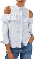 Topshop Women's Stripe Ruffle Cold Shoulder Shirt