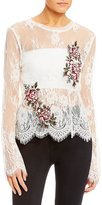 Takara Embroidered Lace Cropped Top