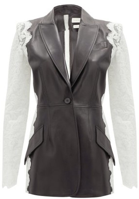 Alexander McQueen Single-breasted Lace And Leather Jacket - Black