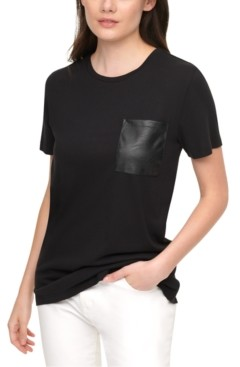 DKNY Faux-Leather-Pocket T-Shirt