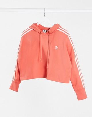 adidas adicolor 3 stripe cropped hoodie in coral