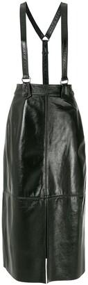 Nk Suspenders Leather Midi Skirt