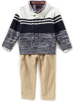 Nautica Baby Boys 12-24 Months Reversible Jersey Sweater, Plaid Woven Shirt & Solid Twill Pant Set
