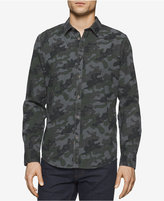 Calvin Klein Jeans Men's Long-Sleeve Melange Camo-Print Shirt