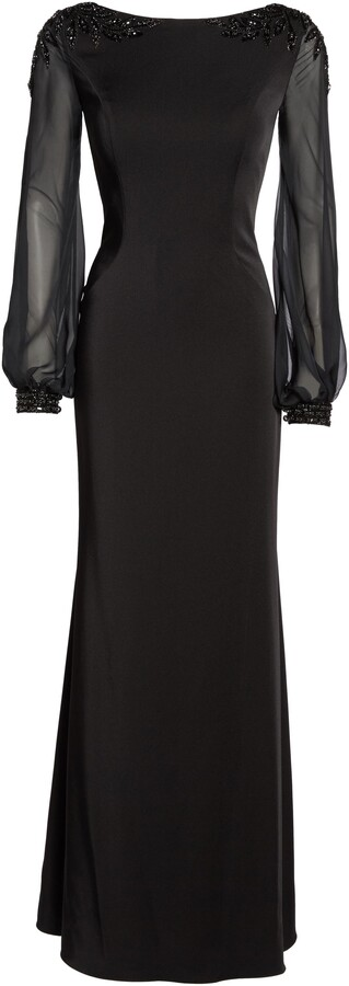 Thumbnail for your product : La Femme Beaded Bubble Sleeve Gown