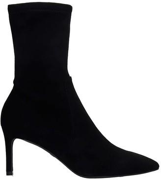 Stuart Weitzman Wren 75 High Heels Ankle Boots In Black Suede
