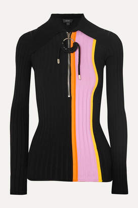 Ellery The Trip Striped Ribbed-knit Top - Black