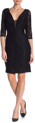 Marina Plunge Lace Sheath Dress
